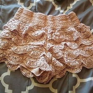 pink laced ruffled shorts